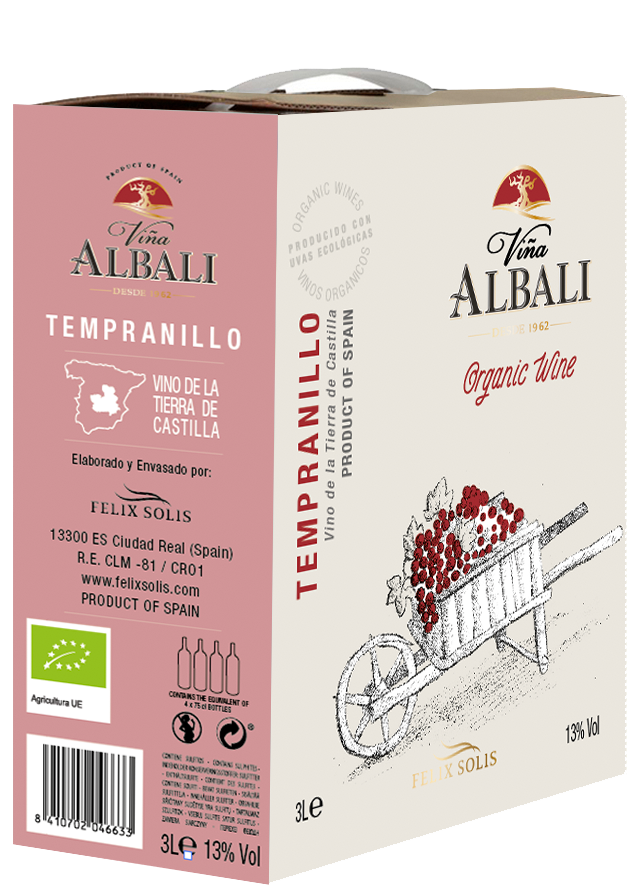 Viña Albali Tempranillo– Vino Ecológico Bag in Box 3 L